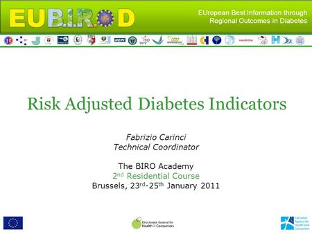 EUropean Best Information through Regional Outcomes in Diabetes Risk Adjusted Diabetes Indicators Fabrizio Carinci Technical Coordinator The BIRO Academy.