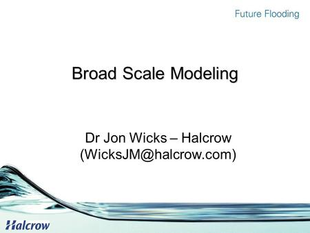 Broad Scale Modeling Dr Jon Wicks – Halcrow
