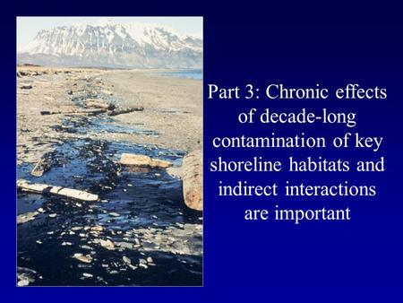 Part 3: Chronic effects of decade-long contamination of key shoreline habitats and indirect interactions are important.