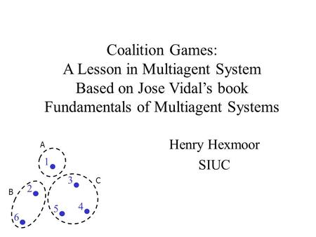 Coalition Games: A Lesson in Multiagent System Based on Jose Vidal's book Fundamentals of Multiagent Systems Henry Hexmoor SIUC 2 5 3 4 1 6 A B C.