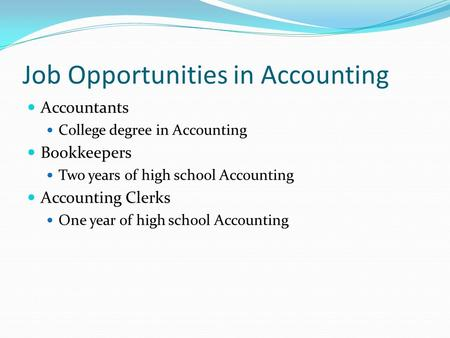 Job Opportunities in Accounting