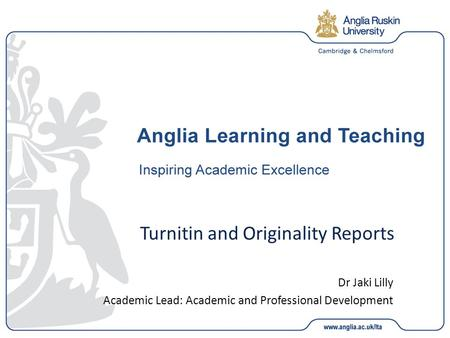 Turnitin and Originality Reports Dr Jaki Lilly Academic Lead: Academic and Professional Development.