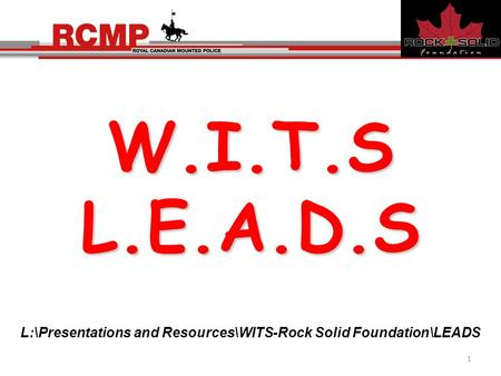 W.I.T.SL.E.A.D.S L:\Presentations and Resources\WITS-Rock Solid Foundation\LEADS 1.