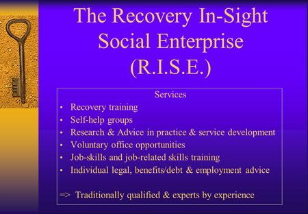 The Recovery In-Sight Social Enterprise (R.I.S.E.) Services Recovery training Self-help groups Research & Advice in practice & service development Voluntary.