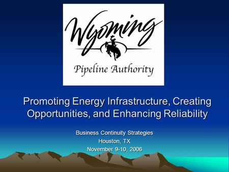Promoting Energy Infrastructure, Creating Opportunities, and Enhancing Reliability Business Continuity Strategies Houston, TX November 9-10, 2006.