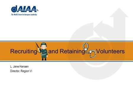 Recruiting and Retaining Volunteers L. Jane Hansen Director, Region VI.