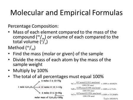 Molecular and Empirical Formulas Percentage Composition: Mass of each element compared to the mass of the compound ( m / m ) or volume of each compared.