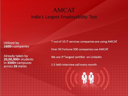 AMCAT India's Largest Employability Test Utilized by 1600+ companies Already taken by 20,00,000+ students In 3500+ campuses across 26 states 7 out of 10.
