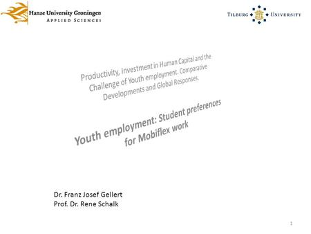 1 Dr. Franz Josef Gellert Prof. Dr. Rene Schalk. Youth employment: Student preferences for Mobiflex work 2 What we need is not the will to believe, but.