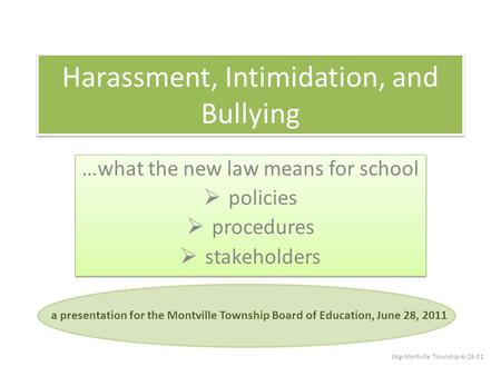 Harassment, Intimidation, and Bullying …what the new law means for school  policies  procedures  stakeholders …what the new law means for school  policies.