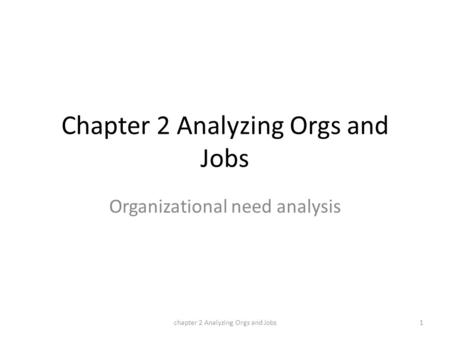 Chapter 2 Analyzing Orgs and Jobs Organizational need analysis chapter 2 Analyzing Orgs and Jobs1.