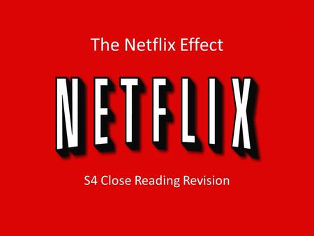 "The Netflix Effect S4 Close Reading Revision. 1. Explain why a cult grew around Bryan Singer's film ""The Usual Suspects"". 2 Everyone who saw it wanted."