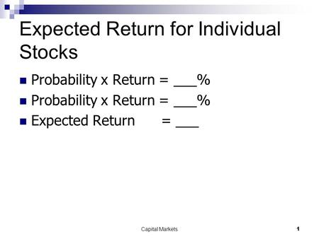 Expected Return for Individual Stocks