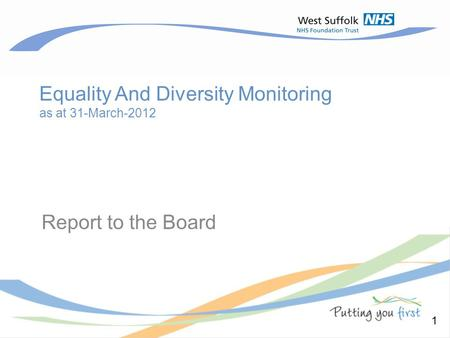 Equality And Diversity Monitoring as at 31-March-2012 Report to the Board 1.