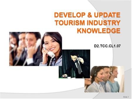 D2.TCC.CL1.07 Slide 1. Subject Elements This unit comprises three Elements:  Source current information on the tourism industry  Source information.