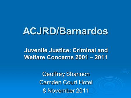 juvenile justice and welfare act of Juvenile justice welfare act of 2006 republic act no 9344 january 24, 2008 notes of atty debbie g dulay overview/outline of topics • brief history and background of the law • salient features of ra no 9344 • role of the barangay council for protection of childrence in the implementation of ra 9344.