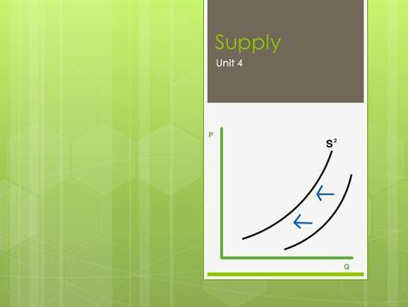 Supply Unit 4. Organizing Principle  The invisible forces within the marketplace determine supply, which in turn determines price and output(quantity).