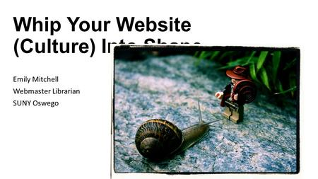 Whip Your Website (Culture) Into Shape Emily Mitchell Webmaster Librarian SUNY Oswego.