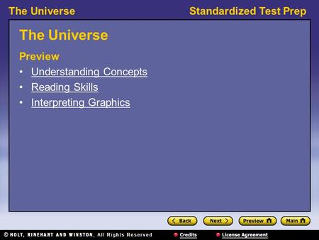 The Universe Preview Understanding Concepts Reading Skills