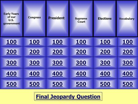 Final Jeopardy Question Early Years of our U.S. government Congress 100 VocabularySupreme Court Elections 500 400 300 200 100 200 300 400 500 400 300 200.
