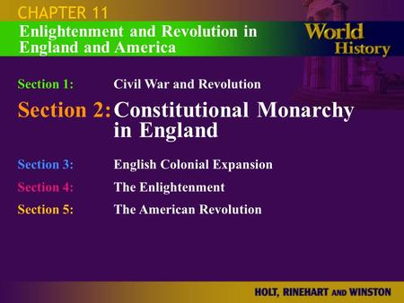 Section 2: Constitutional Monarchy in England
