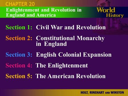 Section 1: Civil War and Revolution