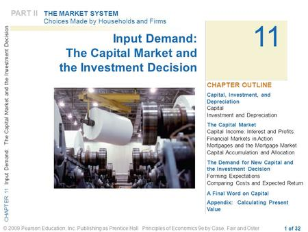 CHAPTER 11 Input Demand: The Capital Market and the Investment Decision © 2009 Pearson Education, Inc. Publishing as Prentice Hall Principles of Economics.