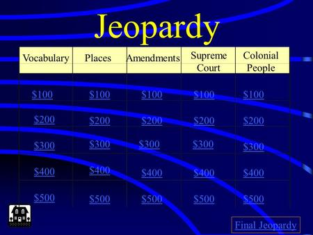 Jeopardy PlacesAmendments Supreme Court Colonial People $100 $200 $300 $400 $500 $100 $200 $300 $400 $500 Final Jeopardy Vocabulary.