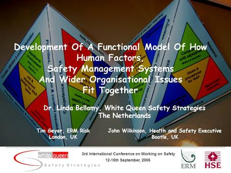 S a f e t y S t r a t e g i e s 3rd International Conference on Working on Safety 12-15th September, 2006 Development Of A Functional Model Of How Human.
