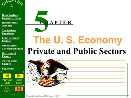 5 - 1 Copyright McGraw-Hill/Irwin, 2002 Households as Income Receivers Households as Spenders The Business Population Legal Forms of Business Public Sector: