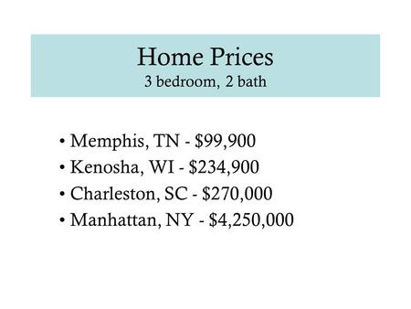 Home Prices 3 bedroom, 2 bath Memphis, TN - $99,900 Kenosha, WI - $234,900 Charleston, SC - $270,000 Manhattan, NY - $4,250,000.