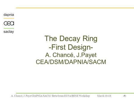 March 16-181A. Chancé, J. Payet DAPNIA/SACM / Beta-beam ECFA/BENE Workshop The Decay Ring -First Design- A. Chancé, J.Payet CEA/DSM/DAPNIA/SACM.