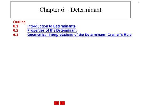 1 Chapter 6 – Determinant Outline 6.1 Introduction to Determinants 6.2 Properties of the Determinant 6.3 Geometrical Interpretations of the Determinant;