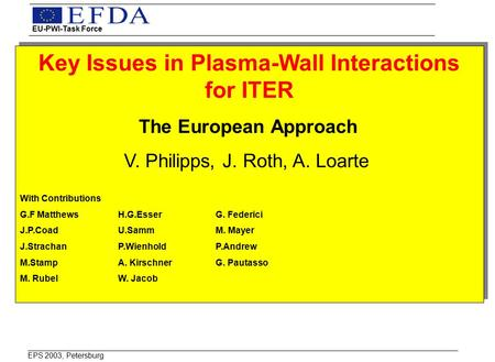 Key Issues in Plasma-Wall Interactions for ITER The European Approach V. Philipps, J. Roth, A. Loarte With Contributions G.F MatthewsH.G.EsserG. Federici.