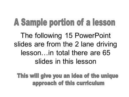 A Sample portion of a lesson