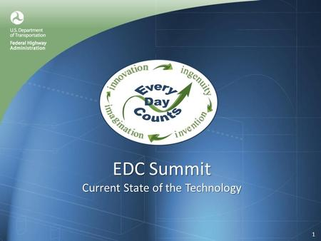 EDC Summit Current State of the Technology 1. The Innovations Warm Mix Asphalt (WMA) Precast Bridge Elements Geosynthetic Reinforced Soil Safety Edge.