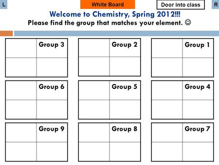 Group 3 White Board Group 6 Group 9 Group 2 Group 5 Group 8 Group 1 Group 4 Group 7 Door into class LR Welcome to Chemistry, Spring 2012!!! Please find.