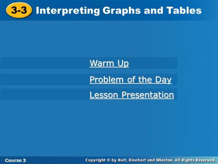Interpreting Graphs and Tables
