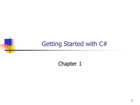 11 Getting Started with C# Chapter 1. 22 Objectives You will be able to: 1. Say in general terms how C# differs from C. 2. Create, compile, and run a.