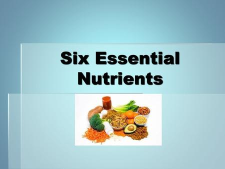 Six Essential Nutrients. What is Nutrition?  The Study of nutrients and how the body uses them.