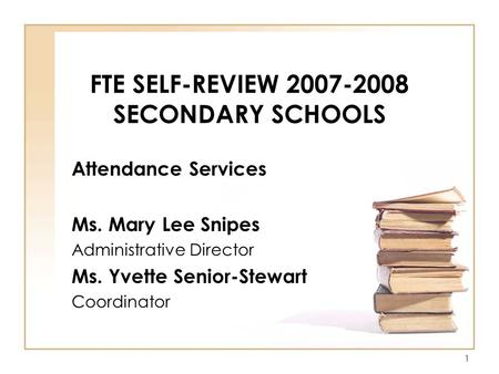 FTE SELF-REVIEW SECONDARY SCHOOLS
