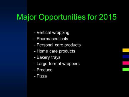 - Vertical wrapping - Pharmaceuticals - Personal care products - Home care products - Bakery trays - Large format wrappers - Produce - Pizza Major Opportunities.