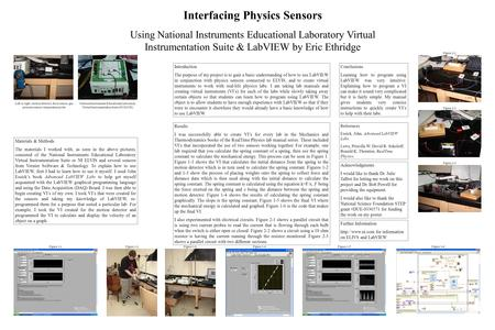 Interfacing Physics Sensors Using National Instruments Educational Laboratory Virtual Instrumentation Suite & LabVIEW by Eric Ethridge Left to right: motion.