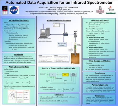 Automated Data Acquisition for an Infrared Spectrometer Lauren Foster 1, Obadiah Kegege 2, and Alan Mantooth 2,3 1 Manhattan College, Bronx, NY, 2 Arkansas.