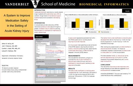 © VANDERBILT UNIVERSITY 2009 B I O M E D I C A L I N F O R M A T I C S A System to Improve Medication Safety in the Setting of Acute Kidney Injury Intervention.