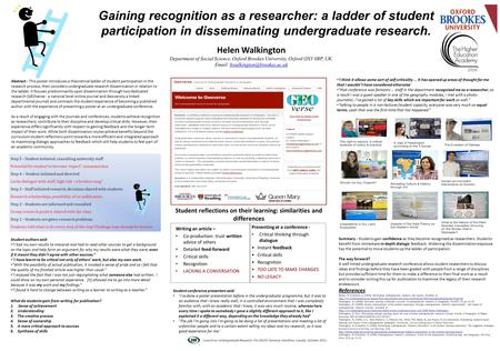 Abstract - This poster introduces a theoretical ladder of student participation in the research process, then considers undergraduate research dissemination.
