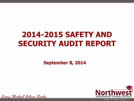SAFETY AND SECURITY AUDIT REPORT