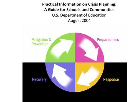 Practical Information on Crisis Planning: A Guide for Schools and Communities U.S. Department of Education August 2004.