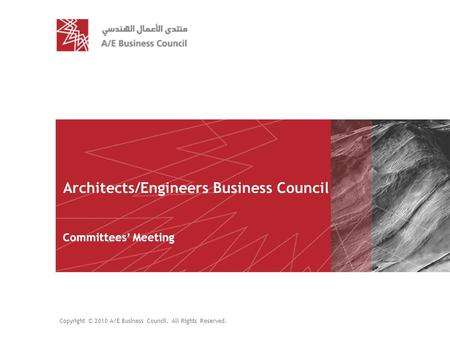 Copyright © 2010A/E Business Council. All Rights Reserved. slide | 1 Architects/Engineers Business Council Committees' Meeting Copyright © 2010 A/E Business.