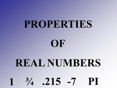 PROPERTIES OF REAL NUMBERS 1 ¾.215 -7PI. Subsets of real numbers – REVIEW Natural numbers numbers used for counting 1, 2, 3, 4, 5, …. Whole numbers the.